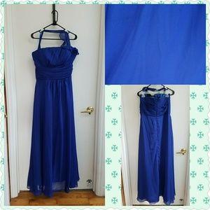 Blue Sheer Floor Length Formal Dress